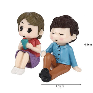 1set Sweety Lovers Couple Chair Figurines Miniatures Fairy Garden Gnome Moss Valentine's Day Gift Resin Crafts Home Decoration