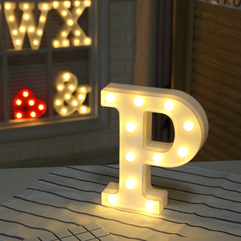 Home Decoration DIY Letter Symbol Sign Heart Plastic LED Lights Desk Decor Letters Ornament for Wedding Valentine's Day Gift