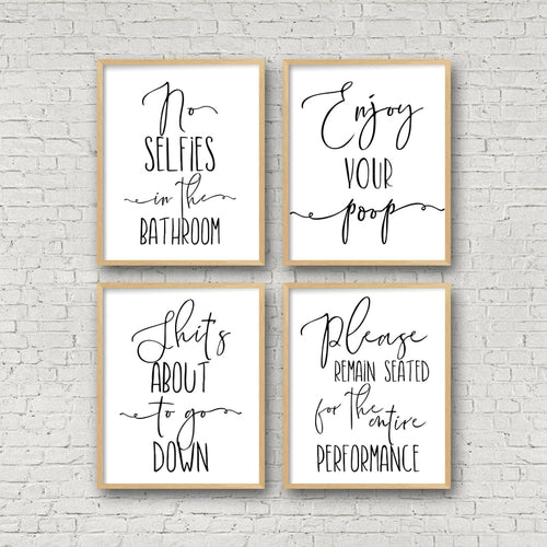 Funny Bathroom Sign Canvas Poster Wall Art Prints , No Selfies Enjoy Your Poop Please Remain Seated Toilet Signs Bathroom Decor