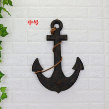 Load image into Gallery viewer, Wood Mediterranean Ship Wooden rudder helm Ship Anchor antique home decor wall decoration  vintage room decoration accessories