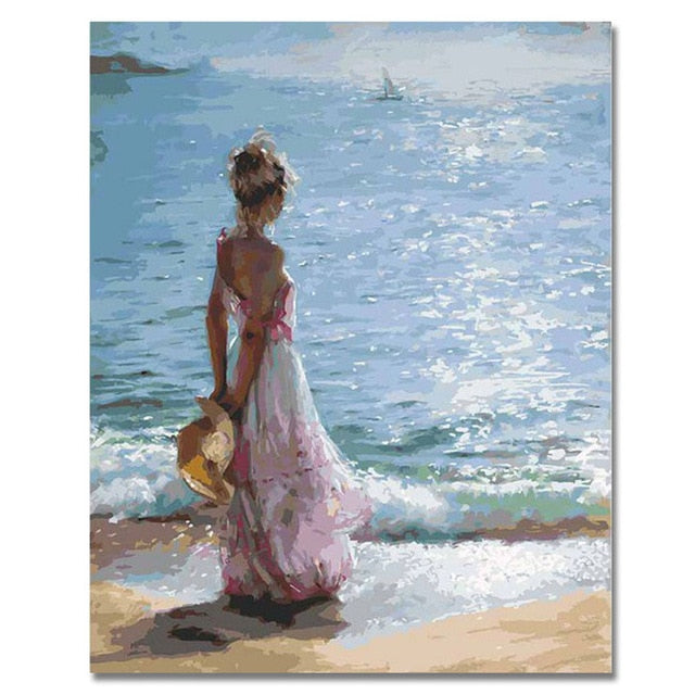 RIHE Girl Watching Sea Abstract Lover Painting Diy Digital Dancing Painting By Numbers Modern Wall Art Picture For Home Decor