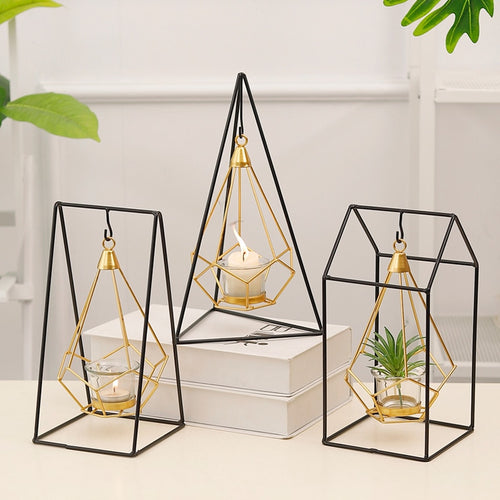 Nordic Golden Geometric Wrought Iron Hanging Candlestick Decoration Home Decorations Candle Table Decoration Props Garden
