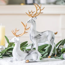 Load image into Gallery viewer, Creative Home Living Room Ornaments Imitation Marble Christmas Elk Decoration TV  Wine Cabinet Decoration Resin Handicraft