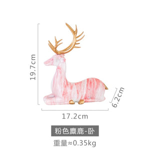 Creative Home Living Room Ornaments Imitation Marble Christmas Elk Decoration TV  Wine Cabinet Decoration Resin Handicraft