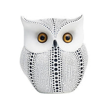 Load image into Gallery viewer, Nordic Style Minimalist Craft White Black Owls Animal Figurines Resin Miniatures Home Decoration Living Room Ornaments Crafts