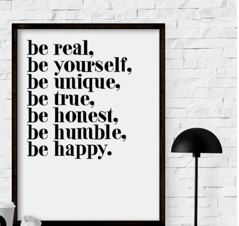 A hot sell canvas painting of English character Inspiration word quote Be yourself art picture poster printer for home decoratio