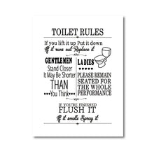 Load image into Gallery viewer, Toilet Rules Wall Art Canvas Painting Modern Funny Bathroom Rules Sign Poster Prints Toilet Humour Picture Bathroom Home Decor