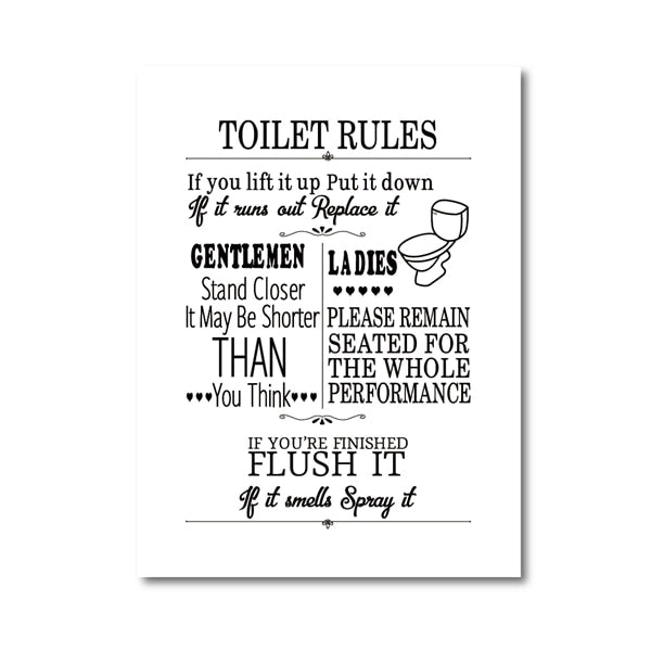 Toilet Rules Wall Art Canvas Painting Modern Funny Bathroom Rules Sign Louric Amazing Decor