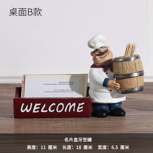 Creative Resin Chef Figurines Bakery Decoration Home Decoration Accessories Living Room Decoration Wine Rack Bakery Ornaments