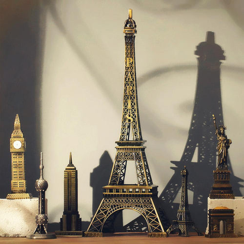22cm Metal Art Crafts Paris Eiffel Tower Model Figurine Zinc Alloy Statue Travel Souvenirs Home Decorations Creative Gifts