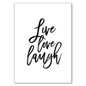 Live Love Laugh Inspiring Quotes Wall Art Canvas Painting Black White Wall Poster Prints For Living Room Modern Home Decor AL132