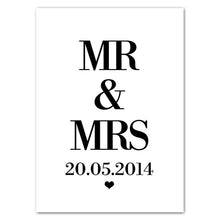 Load image into Gallery viewer, Customize Wedding Anniversary Date English Word Art Canvas Poster Mr Mrs Wall Picture Print Canvas Painting Room Decor HD2646