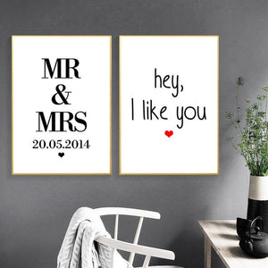 Customize Wedding Anniversary Date English Word Art Canvas Poster Mr Mrs Wall Picture Print Canvas Painting Room Decor HD2646