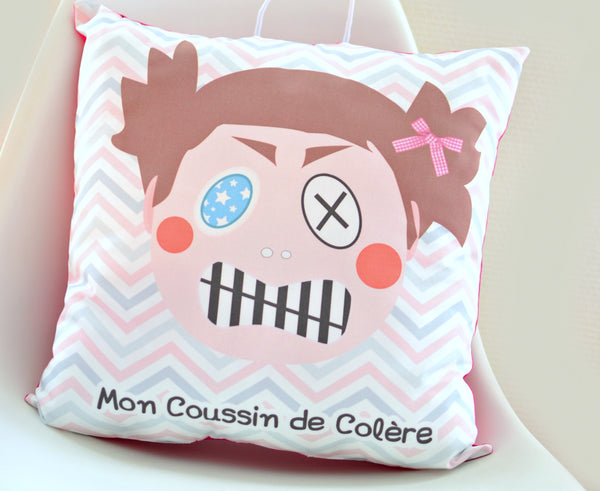 coussin de colere fille à taper punching ball