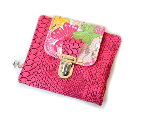 portefeuille compact rose fuchsia liberty mauvey shirley chiche createur