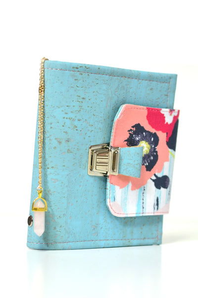 planner pocket portefeuille liege vegan bleu quartz rose