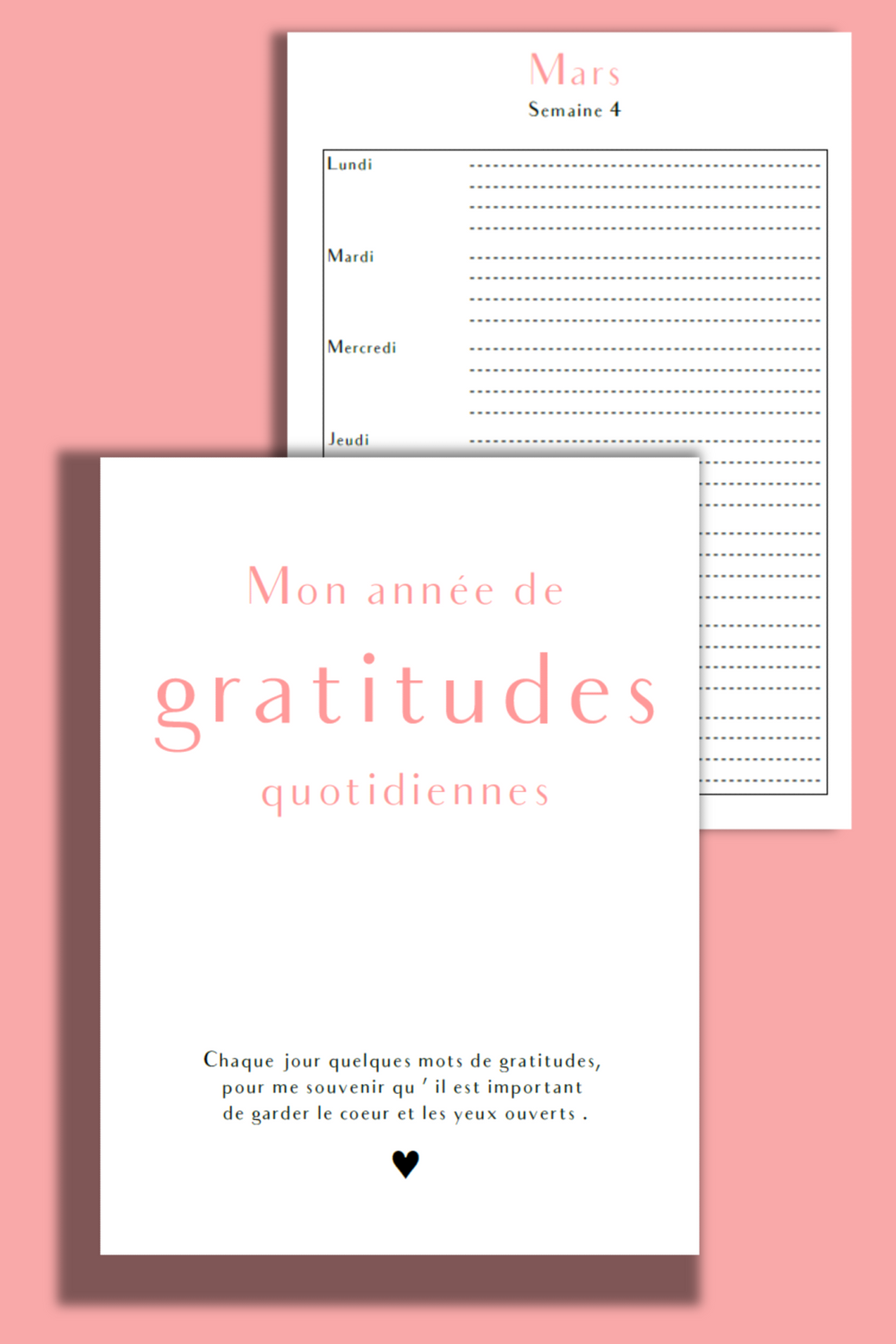 Journal personnel de gratitudes - recharges A5 annuelles - NOUVELLE VERSION