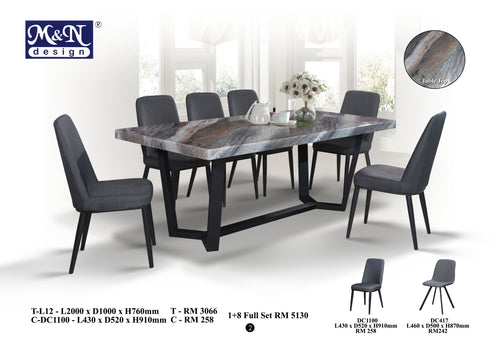 Fusion Marble Dining Table Set- T-L12 (1+8 Full Set)