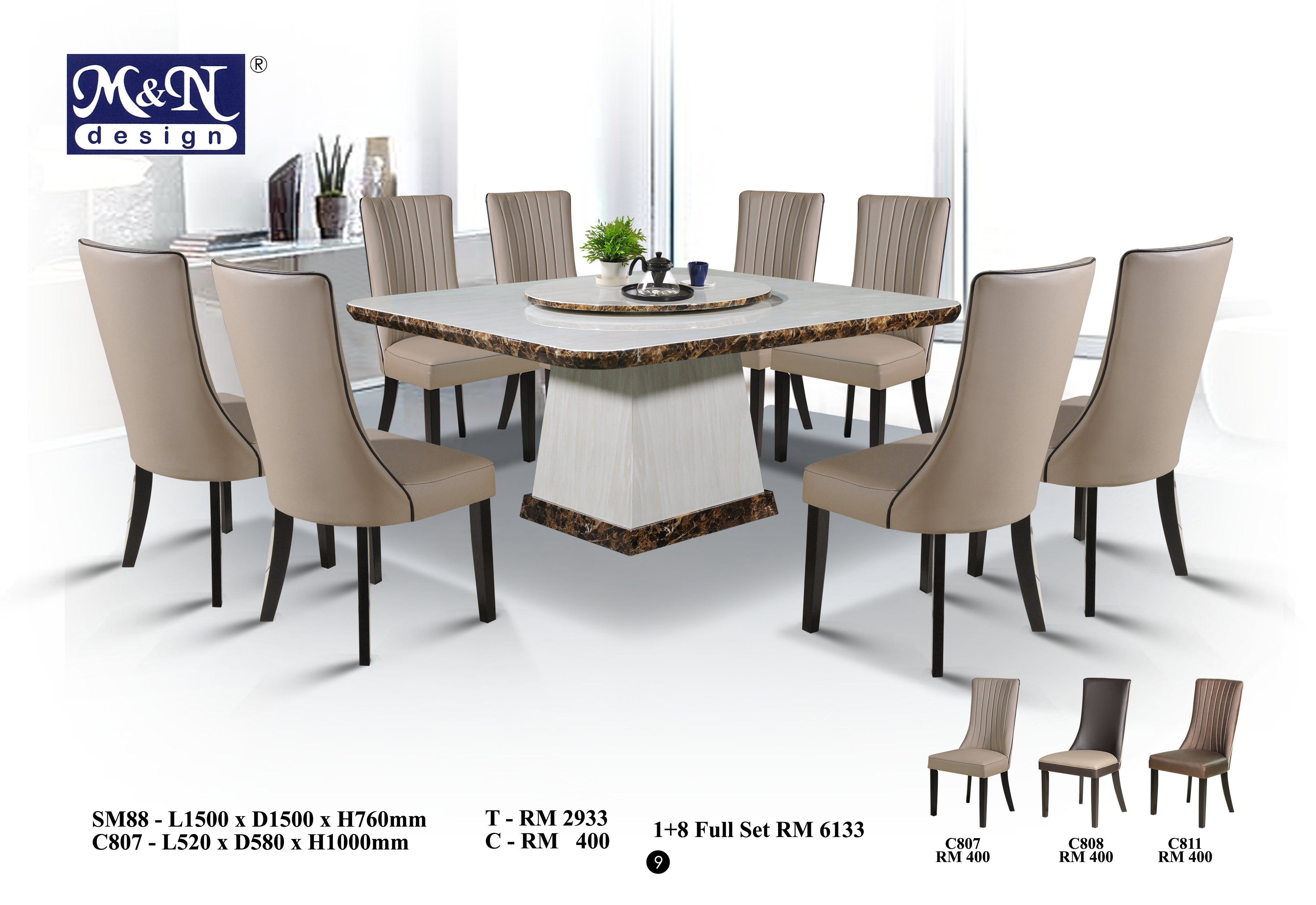 Square Marble Dining Table Set Sm88 1 8 Full Set M N Furnitures