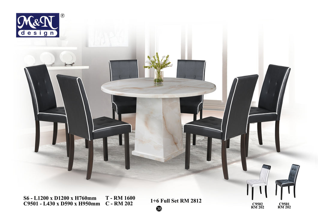 Round Marble Dining Table set Malaysia