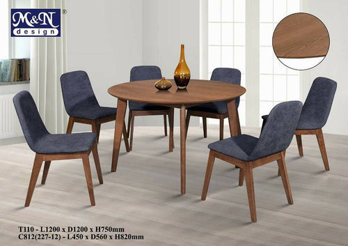 Wooden Dining Table Set - T110+C812 (227-12) -  (1+6)