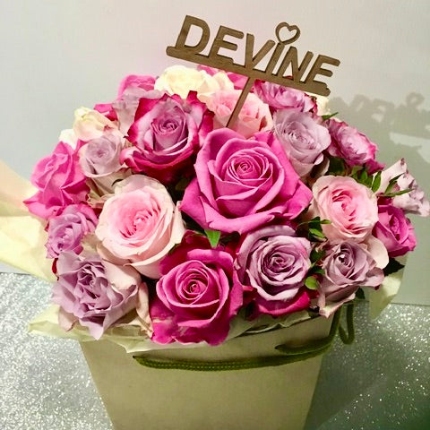 A beautiful collection of luxury mixed shades  of pink roses presented in a stunning hatbox.  A wonderful alternative to a bouquet or gift for Mothers Day.