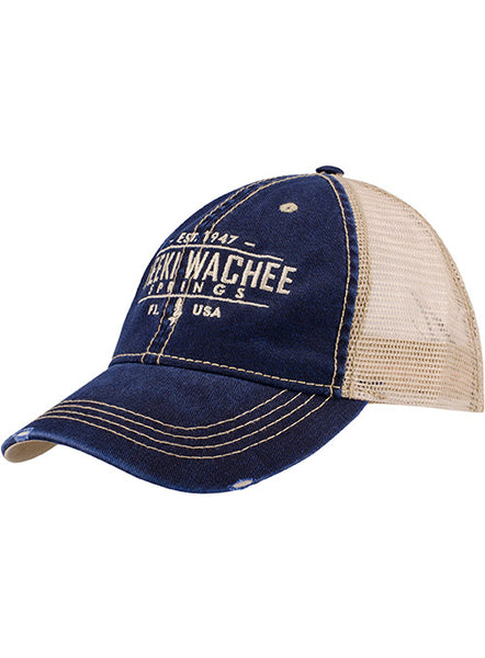 Distressed Trucker Cap-Navy