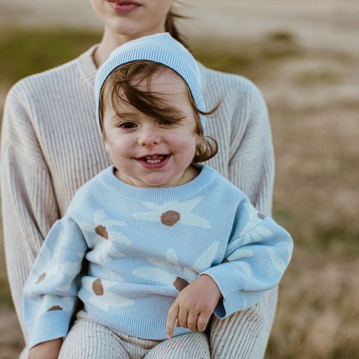 US Stockist of Grown Clothing Organic Cotton Chocolate Rainbow Crochet Twin Set and Rust Linen Slub Yarn Pinafore Dress