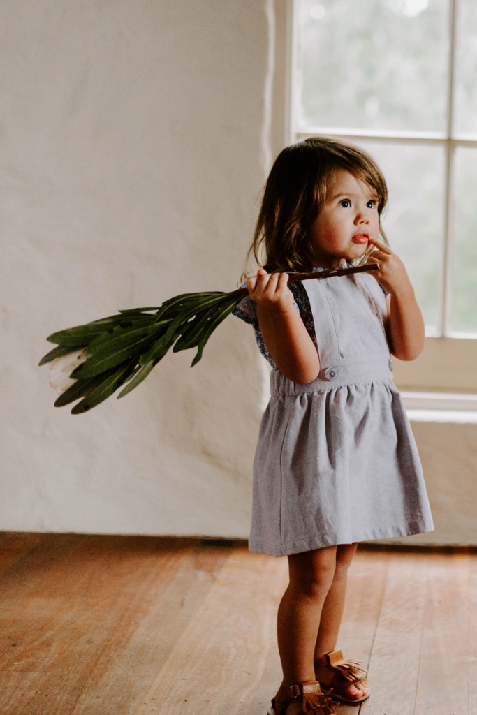 US stockist of Miann & Co's Lavender Grey Cotton/Linen Pinafore Dress