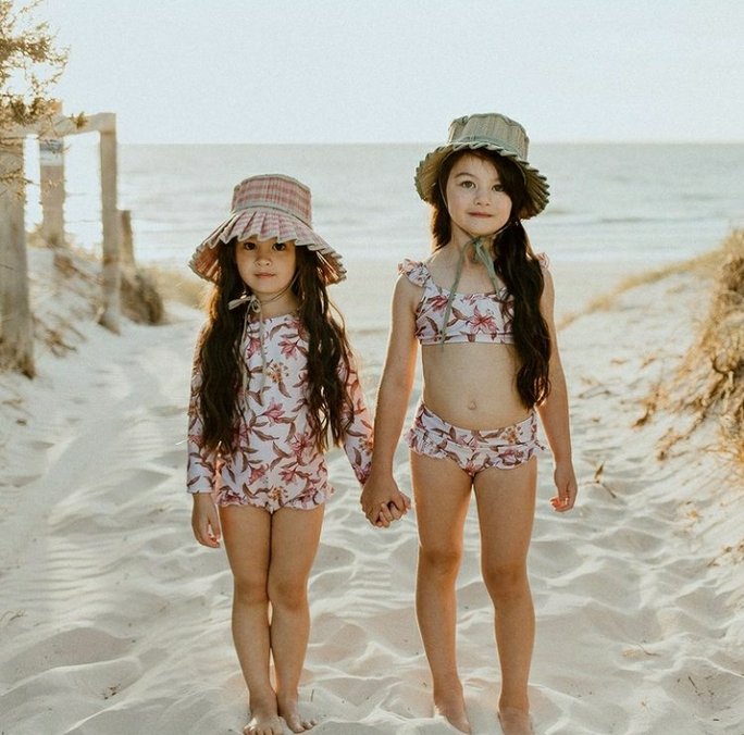 US stockist of Sukoo the Label's pale pink dainty floral Nola ruffle bikini