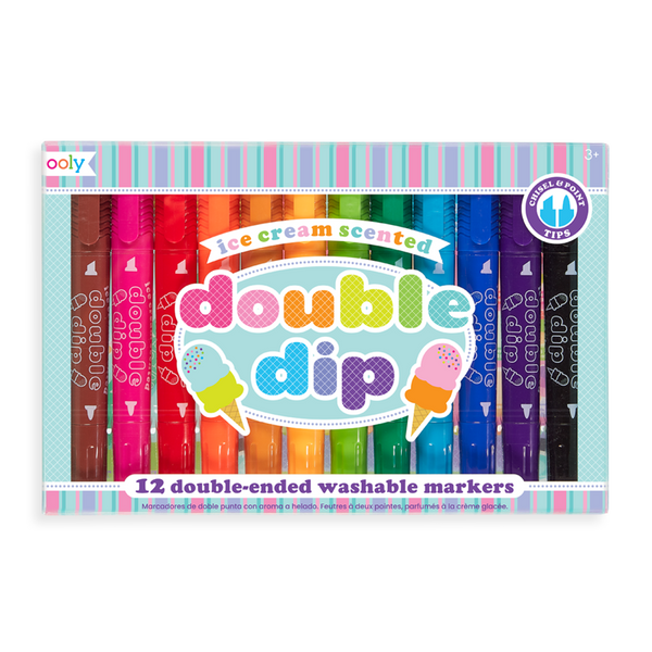 US stockist of Ooly's Double Dib Ice Cream Scented Double Ended Markers. Set of 12.