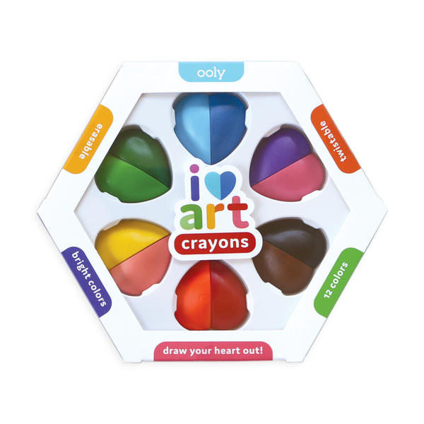 US stockist of Ooly's I Heart Erasable Crayons.  Six heart shaped crayons with different colors per piece.