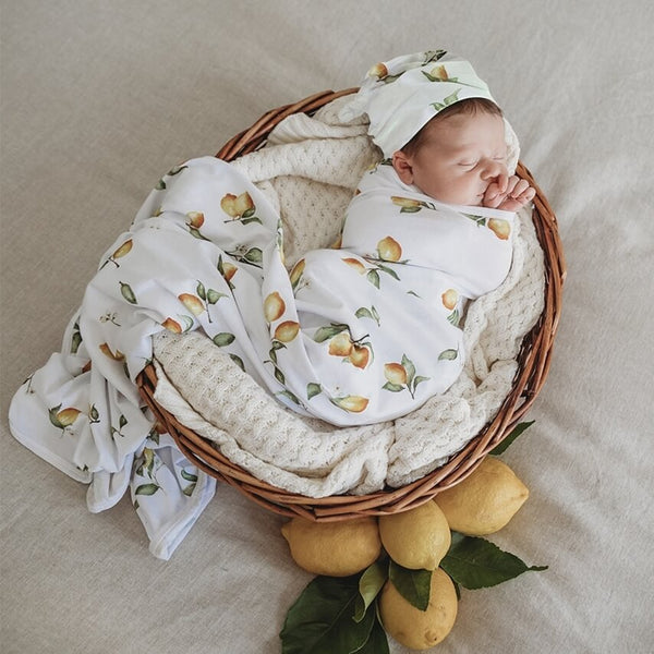 US stockist of Snuggle Hunny Kids lemon jersey wrap + beanie set