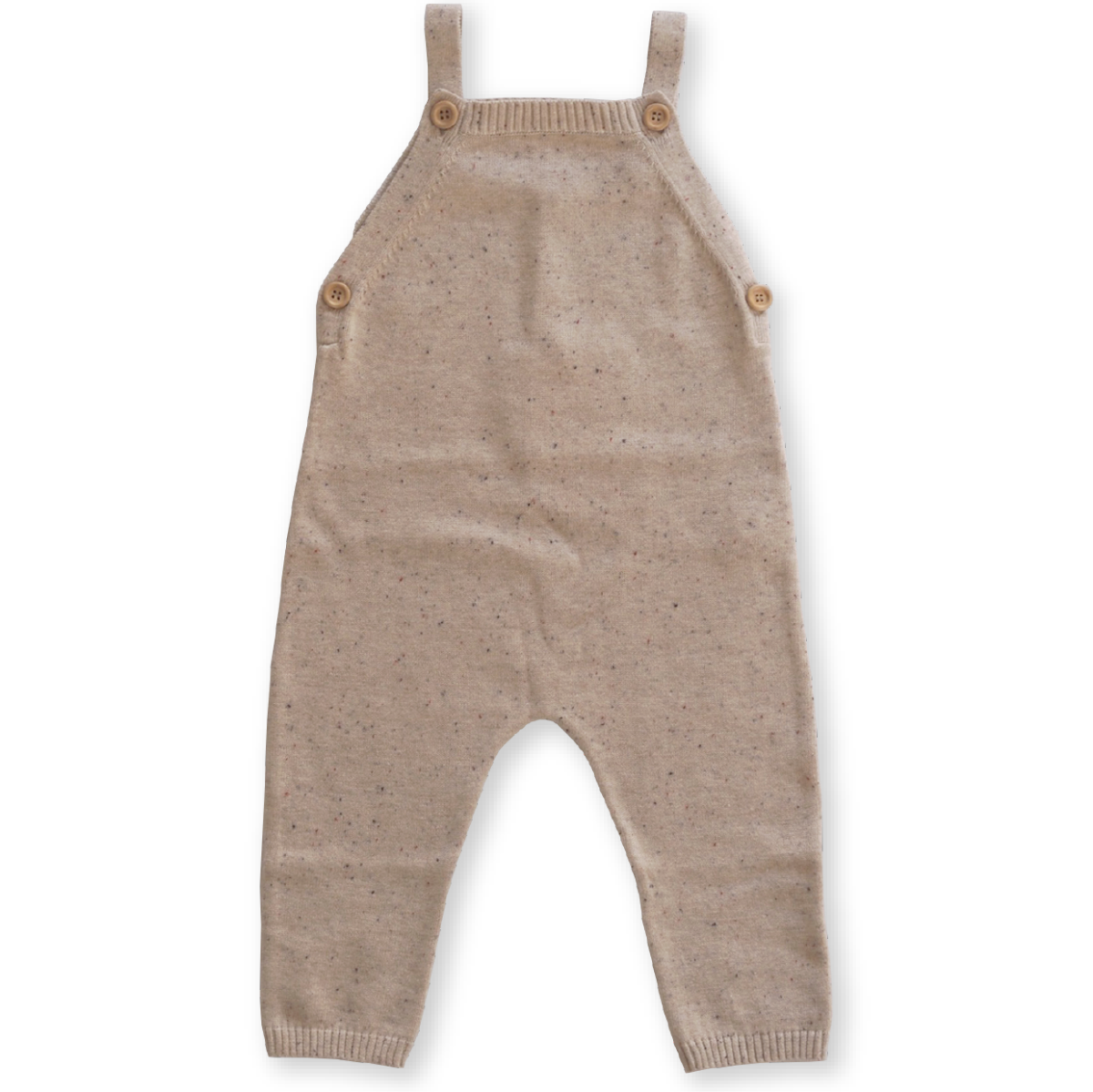 US stockist of Grown Clothing's organic cotton, gender neutral speckled overalls in fawn. Features adjustable straps and wooden button on the sides and straps.