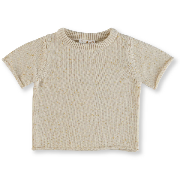 US stockist of Grown Clothing's gender neutral, short sleeve speckle t-shirt.  Milk color with golden speckle throughout the yarn.