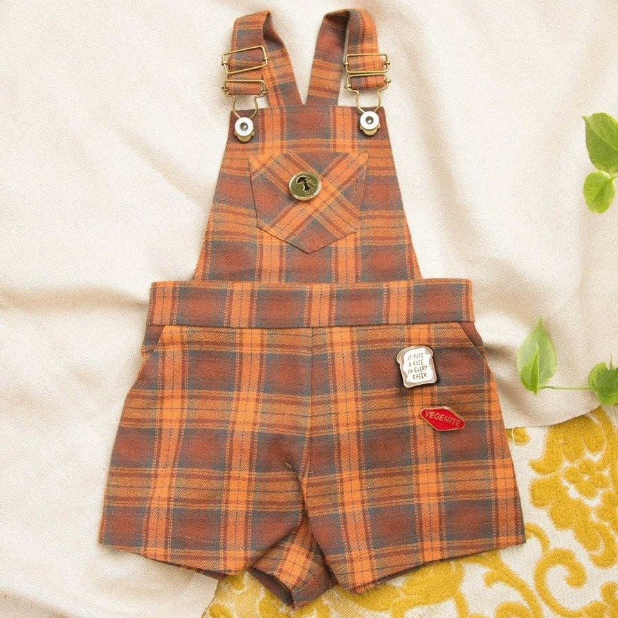 Jamie Plaid Short Overalls.  US stockist of Lacey Lane