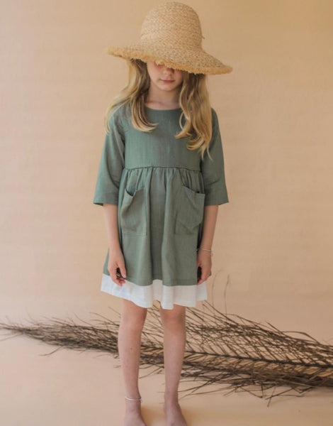 US Stockist of Luca the Label olive linen Annika Dress