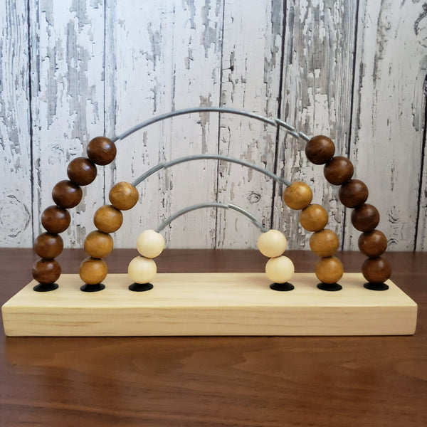 US stockist of Children of the Trees handmade, hand stained abacus rainbow counter wooden toy.