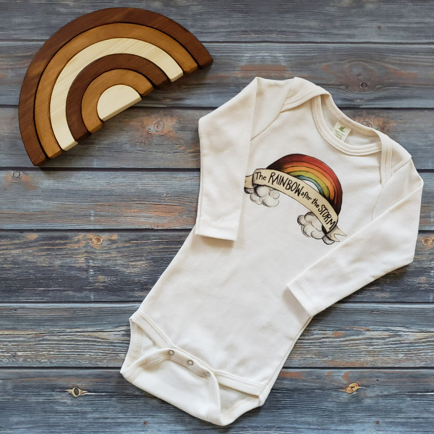 Raising Tito long sleeve cream organic cotton rainbow after the storm bodysuit