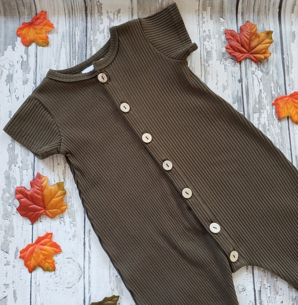 US stockist of Bel & Bow's ribbed cotton short sleeve olive romper