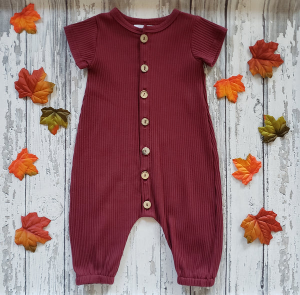 US stockist of Bel & Bow's ribbed cotton short sleeve berry romper