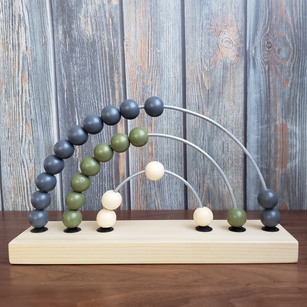 US stockist of Children of the Trees handmade, hand painted, wooden abacus rainbow counter wooden toy in olive and blue.