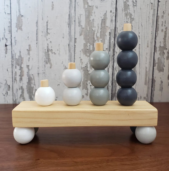 US stockist of Children of the Trees Abacus Mountain Wooden Toy in Greys