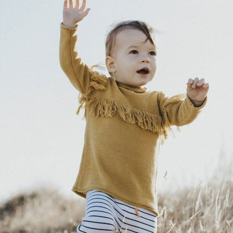 US Stockist of Grown organic cotton harvest gold frill sweater