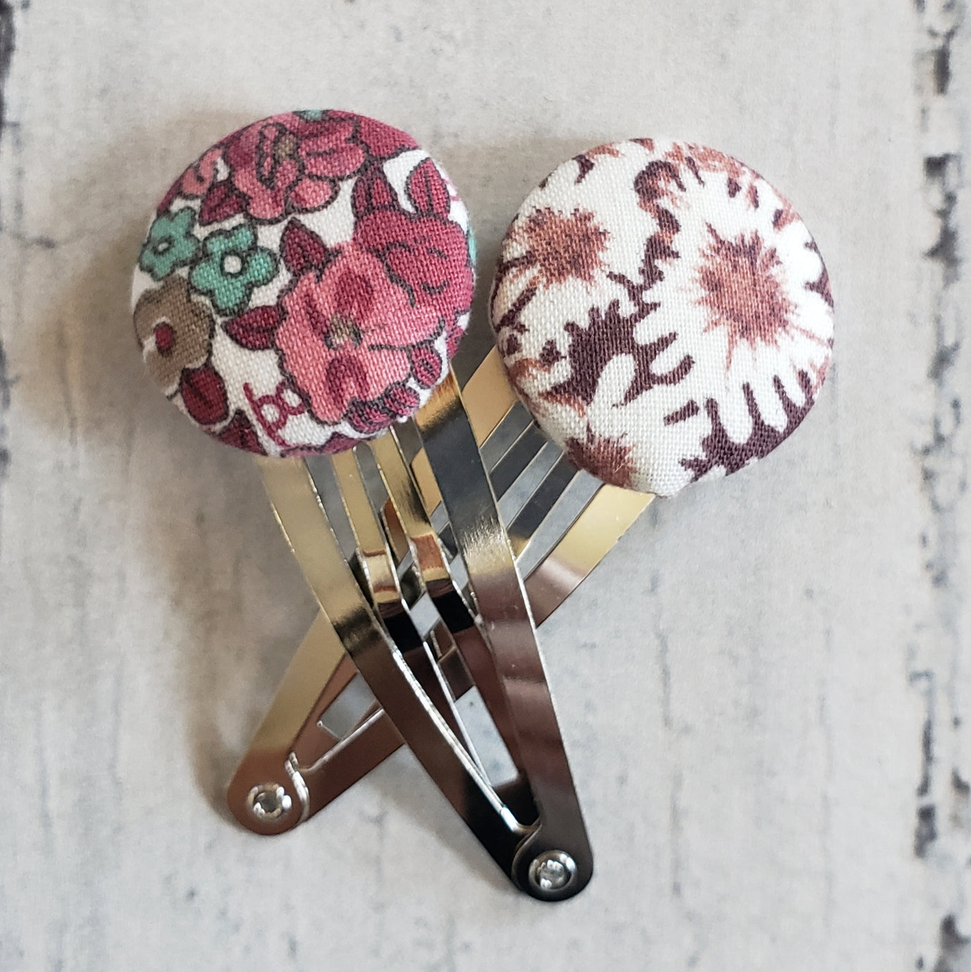 Button Bow Hair Clip Set - Kiwi Vintage Floral