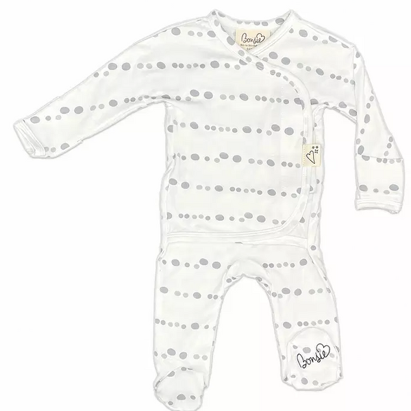 Stockist of Bonsie's rayon blend skipping stone print footie.  Top section has velcro wrap body which can be undone for skin to skin contact.  Elastic waist that can be pulled down for easy diaper changes.