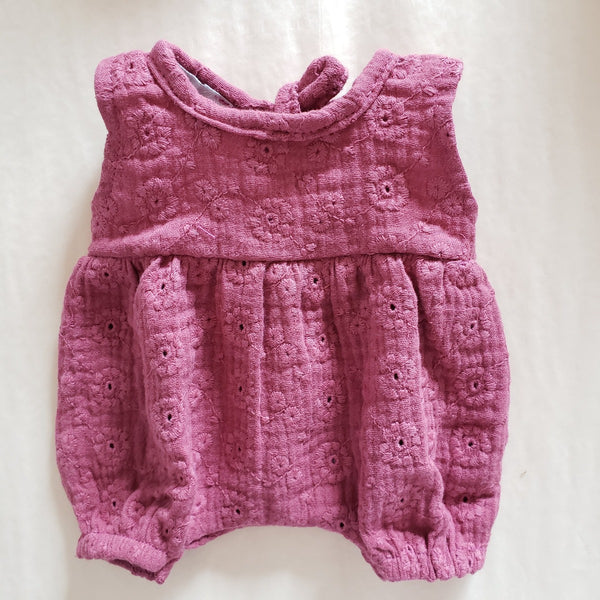 Cotton Overalls - Embroidered Raspberry