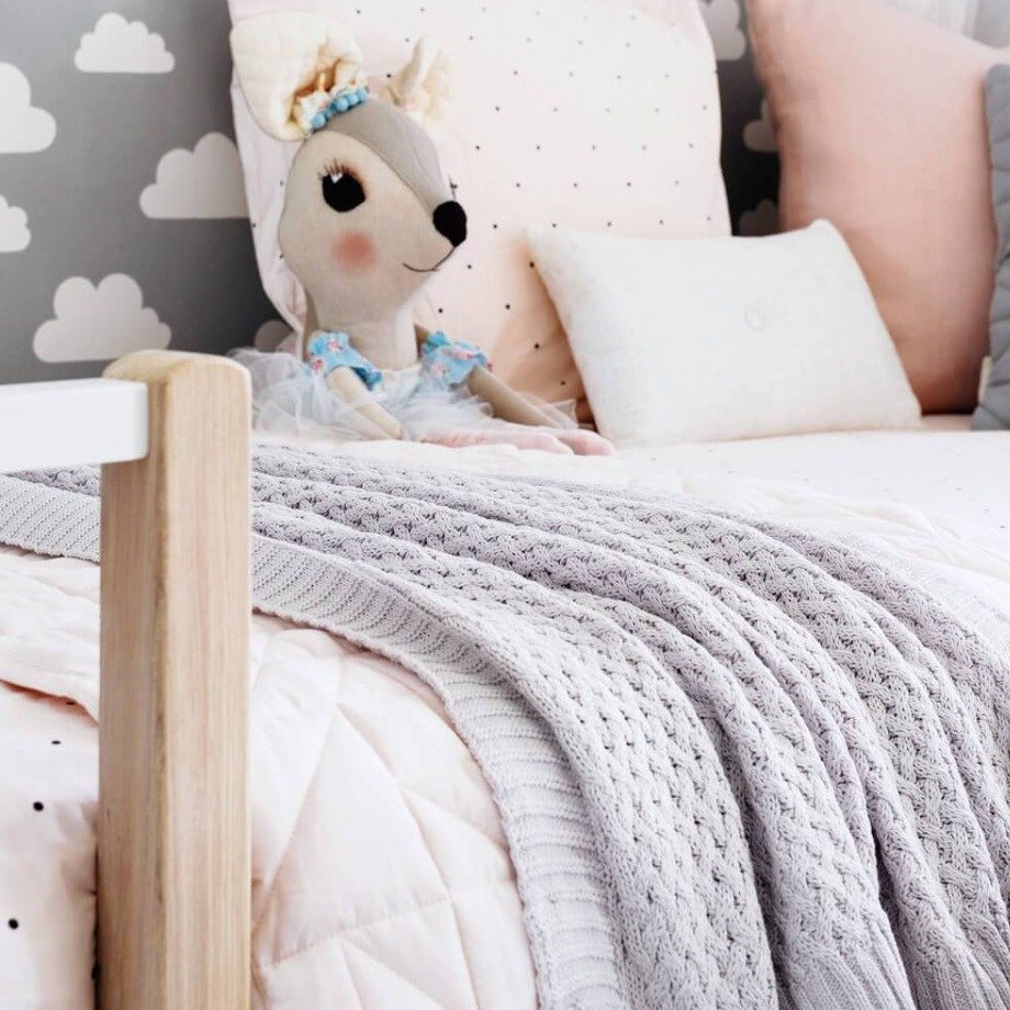 US stockist of Snuggle Hunny Kids warm grey cotton diamond blanket