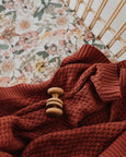 Diamond Knit Baby Blanket - Umber Red