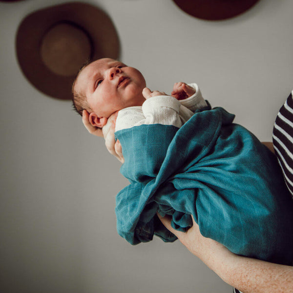 US stockist of Snuggle Hunny Kids organic muslin azure wrap